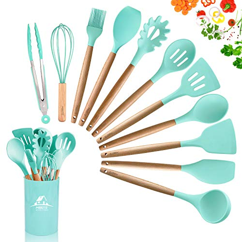 MIBOTE 12PCS Silicone Cooking Kitchen Utensils Set with Holder, Wooden Handles Cooking Tool BPA Free Non Toxic Turner Tongs Spatula Spoon Kitchen Gadgets Set for Nonstick Cookware (Green)