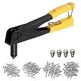Remachadora Manual Pistola de Remaches de Alta Resistencia con 4 Boquillas y 200 pcs Remaches 2,4 mm / 3,2 mm / 4,0 mm / 4,8 mm para Remaches de Aluminio, Acero y Acero Inoxidable