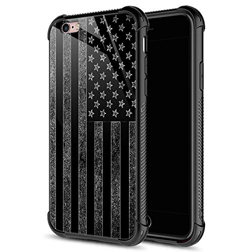 iPhone 6s Case, Black and White American Flag iPhone 6 Cases, Tempered Glass Back+Soft Silicone TPU Shock Protective Case for Apple iPhone 6/6s