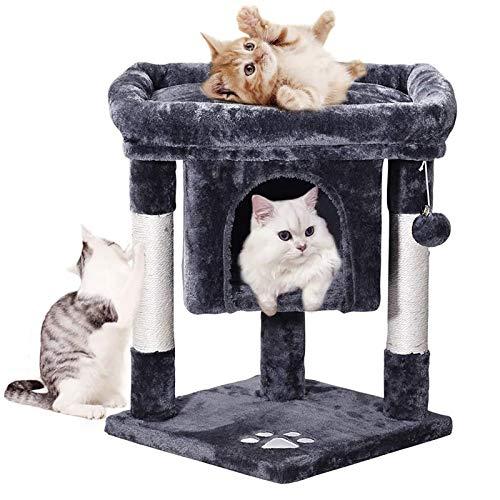 MQUPIN キャットタワー 大型猫 小型 猫タワー 2匹 高齢シニア・子猫も楽々 巨大猫ハウス 広い見晴らし台 爪とぎ 天然サイザル 省スペース ふわふわ 頑丈耐久 高さ59cm KCT05B (ダークグレー)