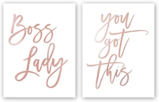 Boss Lady,You Got This Rose Gold Foil Print,Inspirational Quote Cardstock Art Print Minimalist Poster Wall Art Home Decoration Bedroom Decor–Fashion Inspiring Gift (Set of Two,8x10 inch,UNFRAMED)