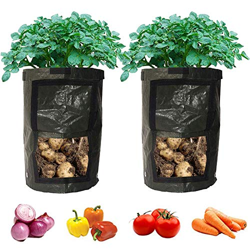 2-Pack Black Garden Grow Bags Durable Plant Growing Bags Outdoor/Indoor...