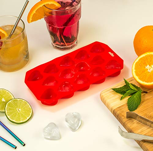 HIC Ice Tray and Mold, Heart, 8 x 4.5-Inches