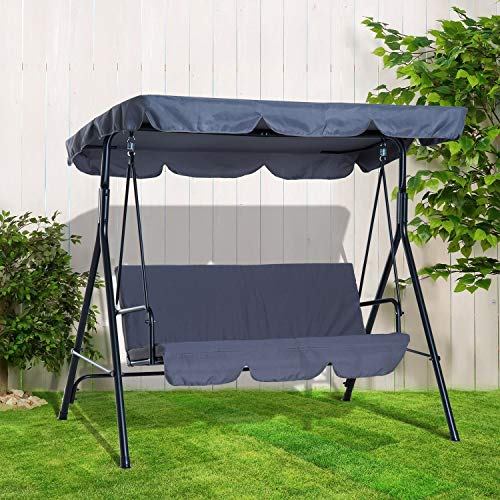BARGAINSGALORE 3 SEATER GARDEN SWING CHAIR SEAT HAMMOCK SWINGING METAL CANOPY BENCH GREY NEW