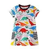 CHJUZI Baby Mädchen Kleid mit Dinosaurier-Motiv, Baumwolle, Rundhalsausschnitt, Kurze Ärmel, Weiß...