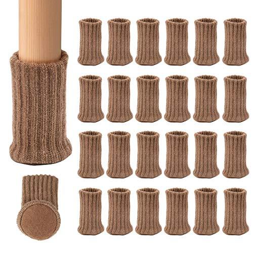 """Ezprotekt Calcetines elásticos para Silla de Mesa, Silla o Silla de Mesa, para Muebles, Diámetro de ajuste de 1""""a 2"""", Gris, Pack de 24 (Marrón claro)"""