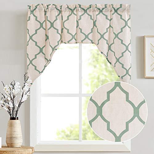 "jinchan Valance Swag for Living Room- Moroccan Tile Quatrefoil Flax Linen Blend Textured Geometry Lattice Print Window Treatment for Bedroom 1 Panel 38"" L Sage"