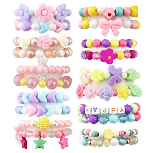 Fengek 20 Pcs Bead Bracelet for Little Girls, Stretchy Plastic Bracelets for Girls Kids Party Favor, Assorted Color