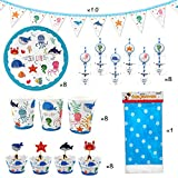 51 Piece Sea Life Marine Animals Party Supplies, Kids Birthday Party Decoration Tableware Pack, Including Banner, Plate, Cup, Straw, Cupcake Wrapper, Cupcake Topper, Table cover, Serves 8 Guest