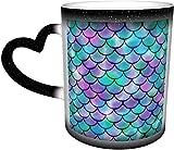 KEROTA Tazas de café con escamas de peces pequeños que cambian de color sensible al calor, taza de cerámica en el...
