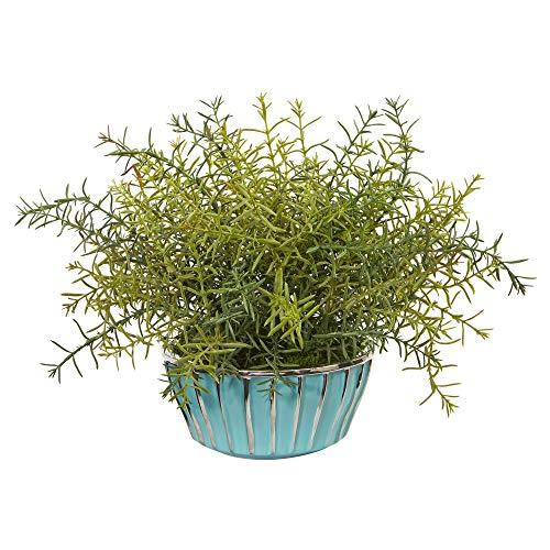 Nearly Natural Mini-Rosmarin-Schale mit Seidenpflanzen, Türkis, 27,9 cm, Grün