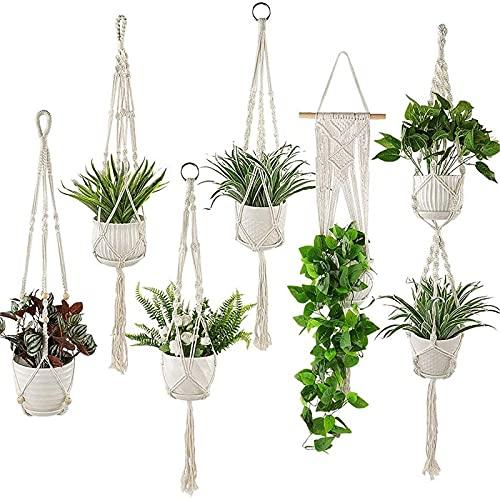 Macrame Plant Hangers Set of 6 Pack Indoor Hanging Planters Handmade Cotton Rope...