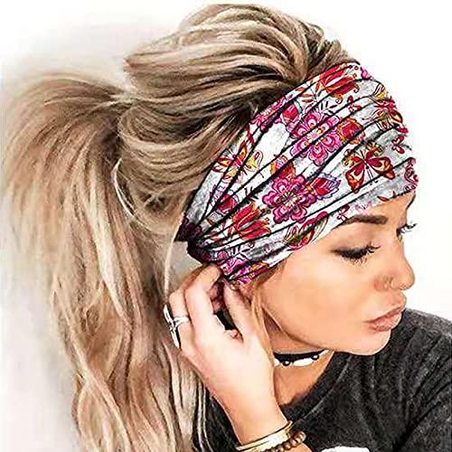TinaDeer Stirnband Sport Schweiß absorbieren Kopfschmuck Yoga Frauen Elastische Kopfbedeckung Turban Kopftuch Druck Stretch Baumwolle Stirnband Damen Sport Bandage Kopfwickel Haarschmuck (Weiß)