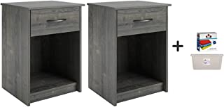 Set of 2 Nightstand MDF End Tables Pair Bedroom Table Furniture, Rodeo Oak Finish (No USB) with Dozen of Cleaning Clothes and Clear Storage