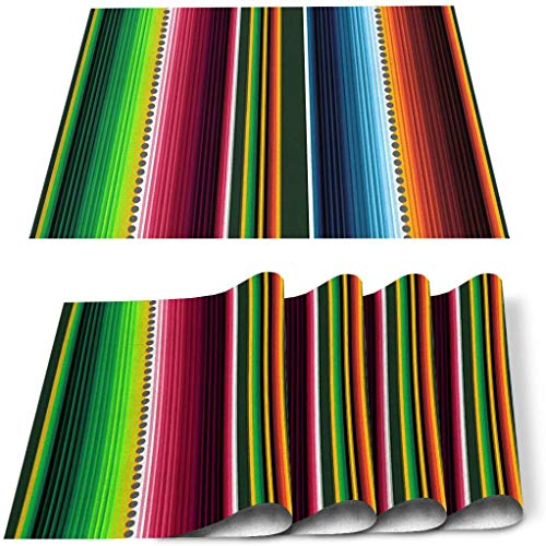 doudouya Home Decor Placemats Set of 4 Colorful Mexican Serape Stripes Insulation Stain Resistant Washable Table Place Mats for Kitchen Dining Cinco de Mayo