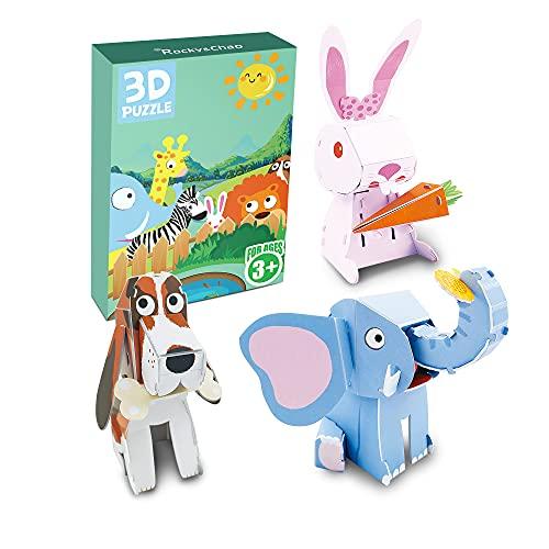 Tre puzzle in una scatola Puzzle 3D Puzzle (A-Cane coniglio elefante)