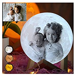 crib bedding and baby bedding 3d printed moon lamp led night light with stand and warm & cool two colors and for baby kids lover birthday christmas gifts