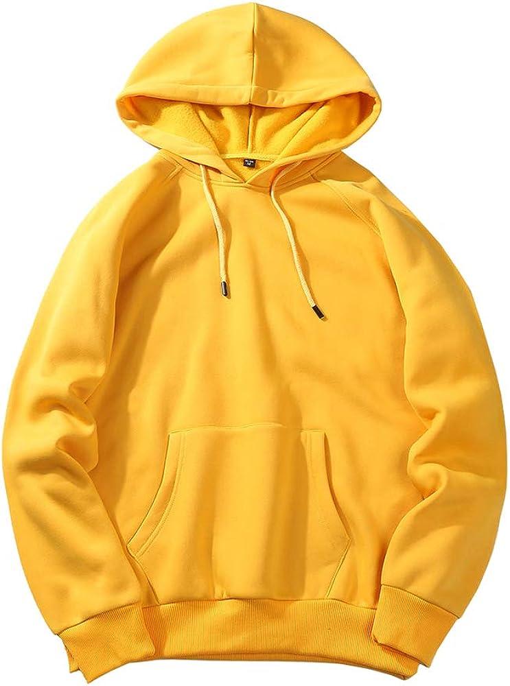 HUPAI Men's Fashion Athletic Standard Hooded Sweatshirt Solid Color Pullover Hoodie