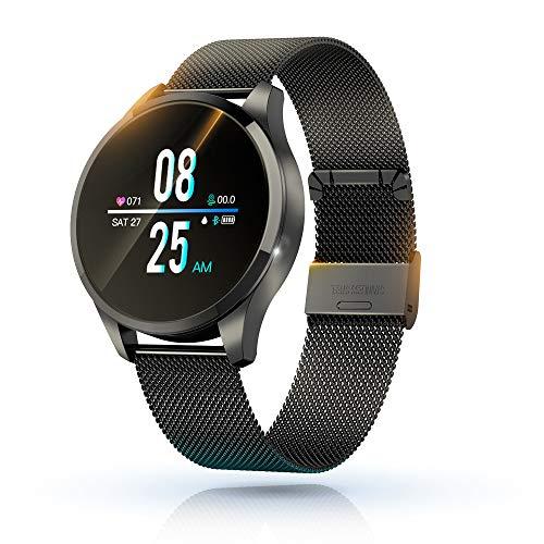 KawKaw Q9 Smart Watch Neue 2020 Version, IP67 wasserdichte Fitnessuhr mit integriertem Fitnesstracker, Pulsmesser, Schrittzähler und Kalorienzähler (Schwarz Metal)
