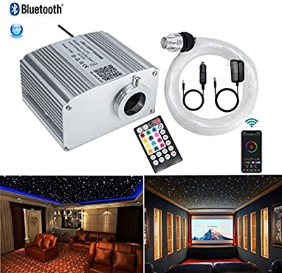 AZIMOM Bluetooth 10W Twinkle RGBW LED Fiber Optic Star Ceiling Light Kit with Sensory Music Mode APP Remote Control for Indoor Car Interior Decoration Mixed 375pcs 9.8ft Strands