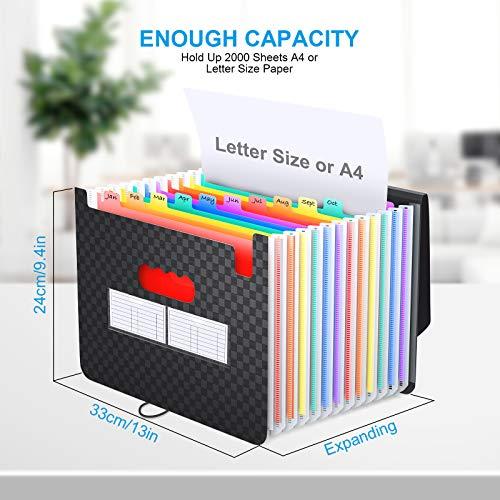 Accordian File Organizer 12 Pockets - Expanding File Folder Expandable Cover,Portable Filing Box,Desktop Accordion Folders,Plastic Colored Paper Document Paperwork Receipt Organizer(A4/Letter Size) Photo #3