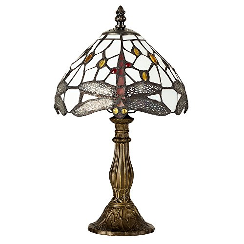 Tiffany Style Antique Brassed Effect Base, Green and White Stained Glass and Jewelled Dragonfly Design Table Lamp