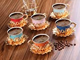 Luxury Turkish Porcelain Coffee Cups Set of 6 and Saucers - 4 oz.- Gold Espresso Cups Set, Greek Coffee, Demitasse Gift Coffee Cup For Women, Men, Adults, Housewarming, New Home Wedding Gifts (Mixed)