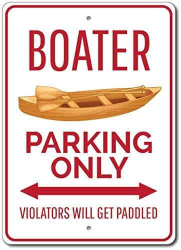 Señal de aparcamiento de navegante con texto en inglés «Boater» y texto «Barco de la decoración de canotaje de la vendimia 20 x 30 cm