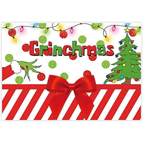 Allenjoy 7x5ft Merry Grinchmas Party Banners Backdrop Christmas Supplies Winter New Year Santa Background Baby Shower Children First Birthday Decorations Studio Photography Props Photo Booth Favors