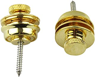 Musiclily Big Flated Head Guitar Security Strap Locks Systems and Buttons for Acoustic Electric Guitar Bass Schaller-style Straplocks Replacement,Gold (Pack of 2)
