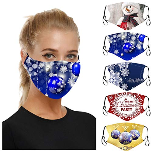 XUETON 5pc Christmas Print Facemask for Unisex Newly Design Face Protection for Outdoor Fashionable Breathable