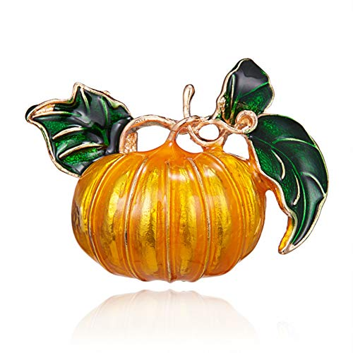 ERDING broche/broche pompoen Halloween legering groene bladeren email oranje pompoen bruiloft broche broche broche voor werkbank geschenken Nieuwjaar