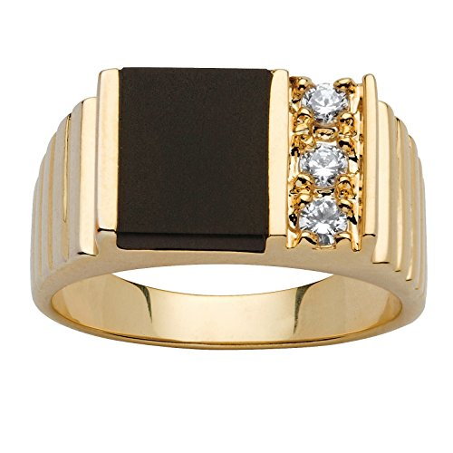 Palm Beach Jewelry Men's 14K Yellow Gold Plated Rectangular Shaped Natural Black Onyx and Round Cubic Zirconia Ring Size 12