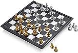 DJRH Conjunto de ajedrez, ajedrez de Viaje con Tablero de ajedrez Plegable para niños y Adultos Checkers Backgammon International Chess Board Games Juego