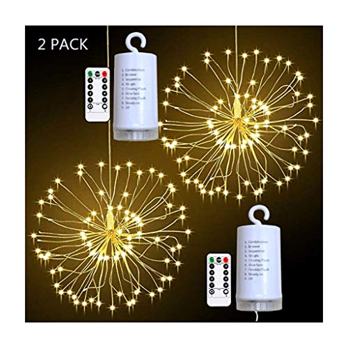 HEG Led String Lights Firework Lights Waterproof Copper Wire Hanging DIY Lights for Indoor Outdoor Christmas 2 Pack Nativity Décor (Color : Warm White)