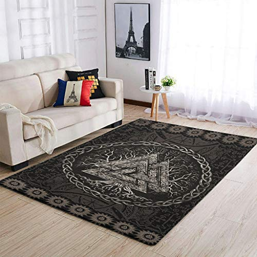 Lujoso vikingo Valknut y árbol de la vida alfombras para decorar el suelo – para niñas y niños habitación infantil blanco 2 91 x 152 cm