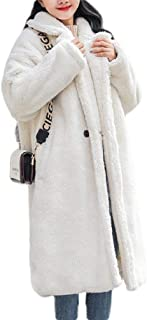Macondoo Women Sherpa Fleece Autumn Winter Mid Length Lapel Coat Outwear Jacket