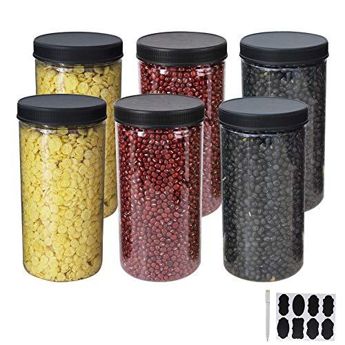 YBCPACK 6 tarros de almacenamiento de plástico transparente con tapas y etiquetas, un bolígrafo, de gran apertura de contenedores de grado alimentario para exhibir, despensa, hogar y cocina