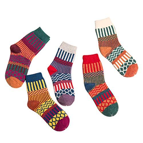 KESYOO5 pares de medias de invierno cálidas de moda estilo étnico calcetines vintage espesar calcetines de lana (5 colores, entrega mixta, tamaño libre)