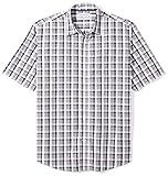 Amazon Essentials Herren-Hemd, Kurzarm, normale Passform, kariert, aus Popeline, Grey/Black Plaid, Large