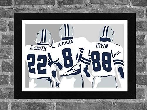 Dallas Cowboys Smith Aikman Irvin Portrait Sports Print Art 17x11