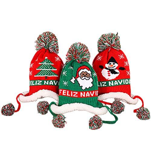Nargut Juego de 3 gorros de punto de Navidad para niños de 1 a 5 años, árbol de Navidad, muñeco de nieve, gorro de invierno para niños, gorro de bebé, gorros de regalo de Navidad