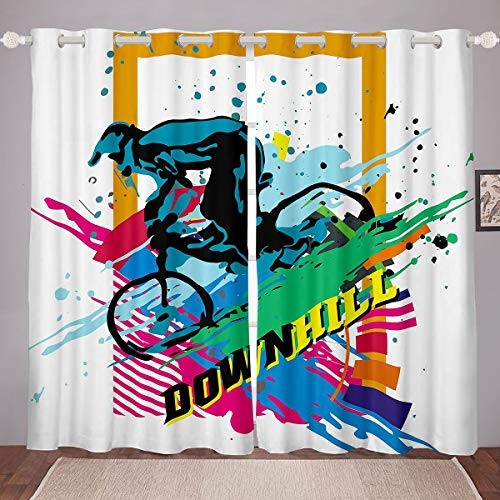 Feelyou Bicycle Rider Window Treatments Mountain Bike Curtain for Kids Boys Girls Teens Decor Extreme Sports Theme Window Drapes Colorful Tie Dye Cool Style Window Curtain (2 Panels, 38 x 54 Inch)