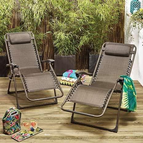 Set di 2 sedie a sdraio in metallo a gravità zero – grigio e bronzo: modelli resistenti di alta qualità (sdraio da giardino reclinabile, sedia da spiaggia)