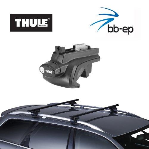 Thule Stahldachträger 90105057 Komplett System inkl. Schloss für VOLKSWAGEN (VW) Touran - mit normaler (hochstehender) Dachreling – inkl. 1 l Kroon Oil ScrennWash
