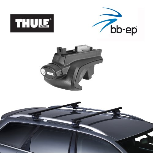Thule stalen dakdrager 90105039 compleet systeem incl. Slot voor Volkswagen (VW) Golf VI Variant (Golf 6) - met normale (opstaande) dakrailing - incl. 1 l Kroon Oil ScrennWash