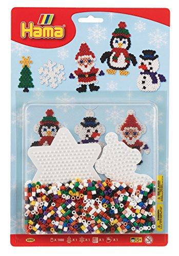 Hama Perlen 4202 Set Weihnachten mit ca. 1.100 bunten Midi Bügelperlen mit Durchmesser 5 mm, 2 Stiftplatten, inkl. Bügelpapier, kreativer Bastelspaß für Groß und Klein