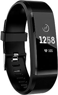 ATETION Pulsera de Actividad Inteligente, Impermeable Reloj Inteligente con Pulsómetro Podómetro Calorias Monitor de Sueño, Pulsera Actividad Smartwatch para Mujer Hombre Niños (Negro)