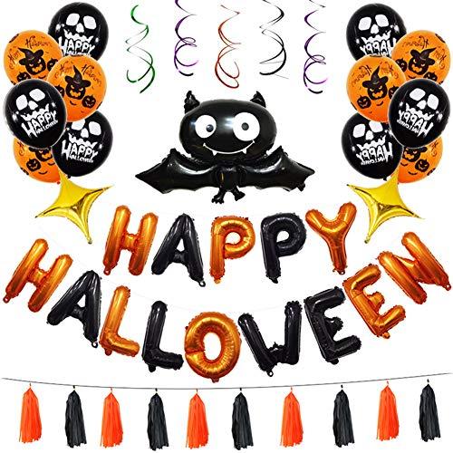 Lovejoy Store 1 Set Halloween-Folie Latex, Ballon Happy Halloween Folienballon Fledermaus Spiralband Buchstabe Festival Home Party Decor, Mehrfarbig