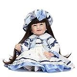 MaMaDolls Reborn Tollders Muñeco Negro Pelo Largo 22 pulgadas 55 cm Silicona realista recién nacido bebé niña muñeca personalizada vestido princesa niños crecimiento pareja